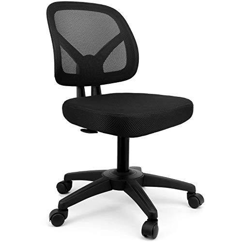 mysuntown Office Chair Without Arms, Small Ergonomic Task Chair No Arms, Drafting Student Armless Computer Desk Chair, Black