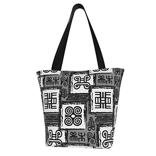 Moshow Einkaufstasche African Adinkra Schwarz Weiß Digital Art Ritual Symbole Bildschirm Küche Wiederverwendbare Einkaufstüten Leinwand Einkaufstasche für Outdoor 11X13 Zoll