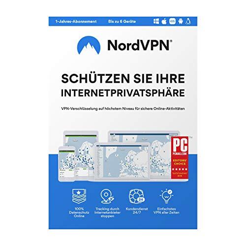NordVPN, VPN Software für 1 Jahr und 6 Geräte, maximaler Datenschutz & Internet Privatsphäre, höchste Sicherheitsstandards, kein Geoblocking, Zugriff auf +5200 Server, Box mit Aktivierungscode