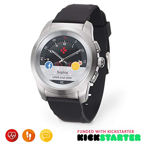 MyKronoz ZeTime Original Hybrid Smartwatch 44mm with Mechanical Hands Over a Color Touch Screen – Brushed Silver/Black Silicon Flat - Best Kickstarter 2017 (Renewed)