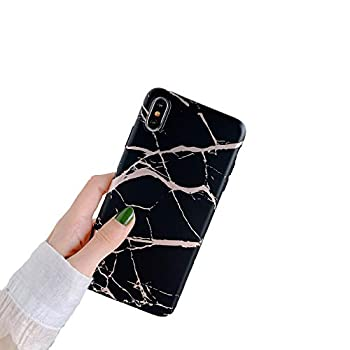 Cocomii Matte Marble iPhone XR Case Slim Thin Matte Soft Flexible TPU Silicone Rubber Gel Shiny Reflective Streaks Fashion Phone Case Bumper Cover Compatible with Apple iPhone XR 6.1   Black/Gold