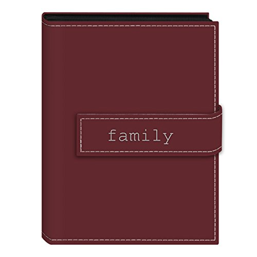 Pioneer Photo Albums 36-Pocket 5 by 7-Inch Embroidered 'Family' Strap Sewn Leatherette Cover Photo Album, Mini, Burgundy
