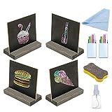 KINDPMA 4 Piezas Pizarra de Mesa Pizarra Pequeña Madera con Tiza y Borrador Pizarra Mini Madera para Restaurante Boda Bar Celebración de Días Festivos Signo de Comida Numero de Mesa