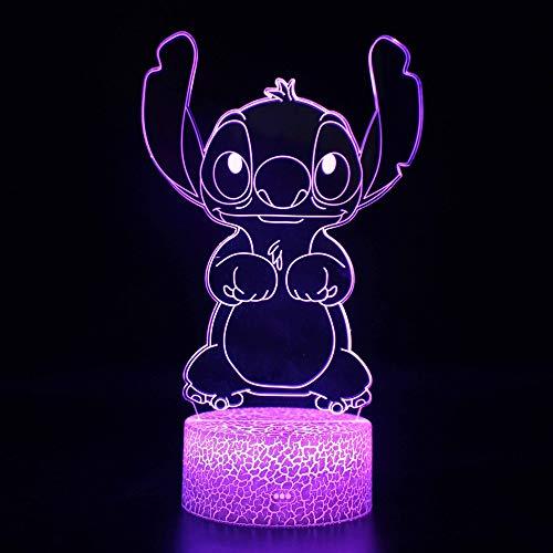 Animado 3D luz de la noche, Stitch Lilo y Stitch, LED Lámpara decorativa de mesa pequeña, recargable 3D pequeña lámpara de tabla, Estéreo Visión USB Lámpara de mesa LED, luz de la noche Dormitorio