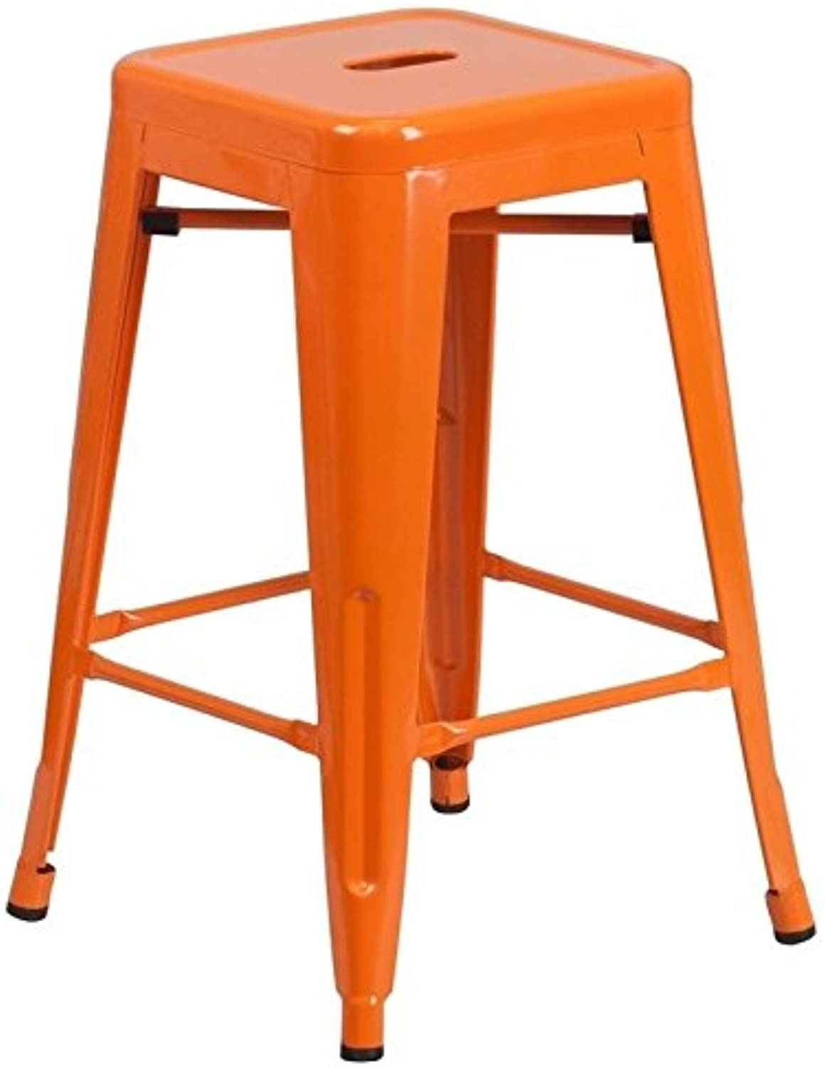 Bowery Hill Metal 24'' Backless Counter Stool in orange