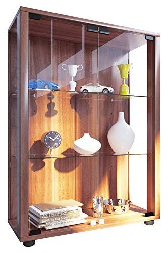 VCM 911995 Sammelvitrine Standvitrine Glasvitrine Glasregal Vitrine Glas Schaukasten ohne Beleuchtung Kern-Nussbaum