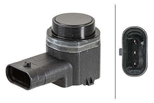 HELLA 6PX 358 141-201 Sensor, Einparkhilfe - gewinkelt - 3-polig - gesteckt - lackierbar - mit Befestigungsring