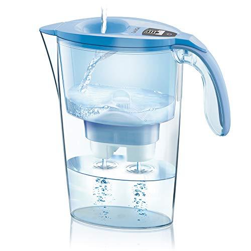 Jarra para filtrar el agua del grifo y mejorar su sabor- Laica STREAM LINE J31-AD color azul capacidad 2,3 litros, incluye 1 filtro bi-flux que reduce la cal y el cloro y dura 150 litros o 1 mes.