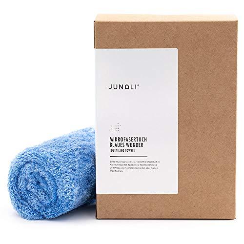 JUNALI® Blaues Wunder Mikrofasertuch randlos, speziell für kratzempfindliche Flächen, Microfaser Premium Poliertuch für Möbel, Arbeitsplatten und Klavierlack Oberflächen