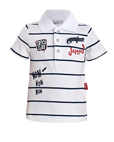 GULLIVER Baby Polo Shirt Polo Hemd Baby Junge Jungs Weiss Gestreift mit Patches 9-24 Monate 74-92 cm