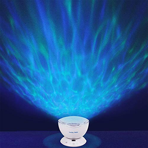 Ocean Wave Night Light Projector with Music Player Romantic Color Changing LED Party Decorations Projection Lamps Mood Lighting for Living Room Bedroom (White)