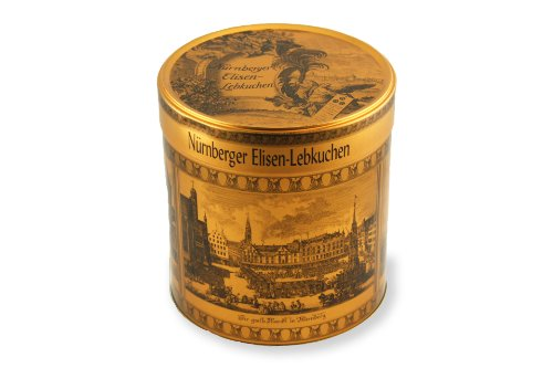LEBKUCHEN WELT Runde Lebkuchendose - goldfarben, ohne Inhalt | Motiv Nürnberg im Mittelalter