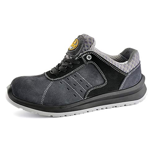 SAFETOE Chaussure de Securité Homme Femme - L7331 S1P Cuir Chaussures de Travail Légère Chantiers et Industrie Basket Respirant (38 EU, Gris)