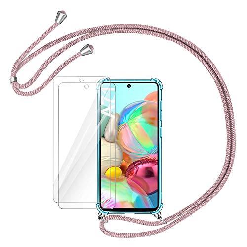 AROYI Funda con Cuerda Compatible con Samsung Galaxy A71 y 2 Unidades Protector Pantalla, Carcasa Transparente TPU Silicona Case con Ajustable Cordón Compatible con Samsung Galaxy A71, Oro Rosa