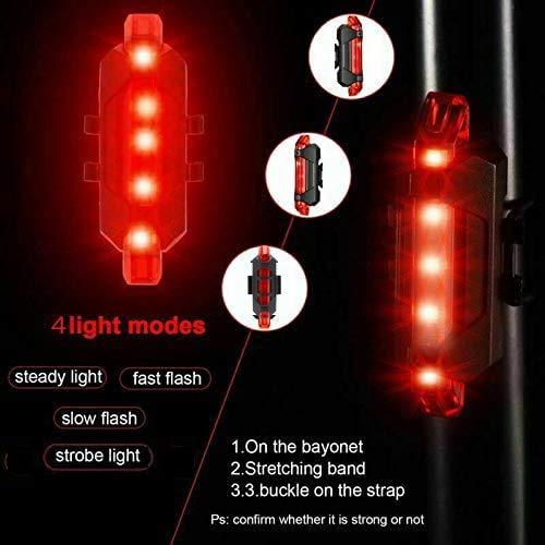 VJK USB wiederaufladbare Fahrradbeleuchtung vorne und hinten, 2 Stück Scooter-Licht, 5 LEDs, 4 Modi, vorne und hinten, Blinklicht, Sicherheitswarnlampe - 4