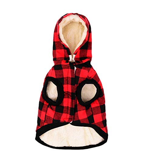 RC GearPro Cozy Waterproof Windproof Reversible British Style Plaid Dog Vest Hooded Shirt Coat Dog Apparel Cold Weather Dog Jacket for Puppy Small Medium Large Dog (XXXL, RED)