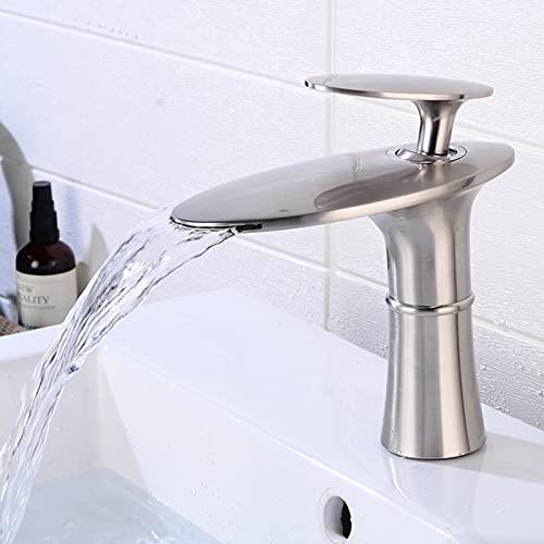 LIskybird Grifo Mezclador Monomando para Lavabo de Baño con Cascada de Latón Frío y Caliente, Diseño Moderno,Brushed Short