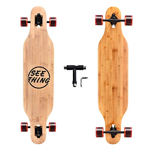 seething 41 Inch Cruiser Longboard Skateboard,8 Ply Artisan Bamboo and Maple Longboard Skateboard Cruiser Pintail for Cruising, Carving, Free-Style and Downhill(Reverse Plate)