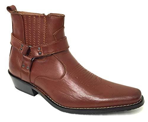 Alberto Fellini W1TCJ Herren Cowboystiefel Western Ankle Harness Leder Futter Seitlicher Reißverschluss Schuhe, Braun (braun), 39 EU