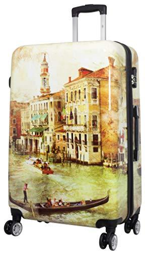 Trendyshop365 Hartschale Reise-Koffer Bedruckt mit Motiv Venedig 78 Zentimeter 107 Liter 4 Räder Bunt Zahlenschloss