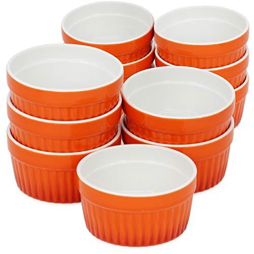 COM-FOUR 12x tazón de ragú de aletas - Moldes para horno en naranja - Tazón de crema brulee - Tazón de postre con 185 ml cada uno