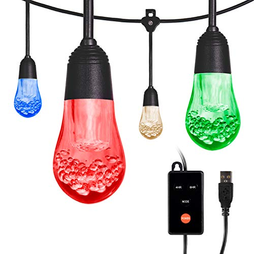Enbrighten Acrylic Bulbs, USB-Powered Café String Lights, 12ft, 12, LED, Indoor or Outdoor, Camping, Tailgate, Dorm Room, 48366