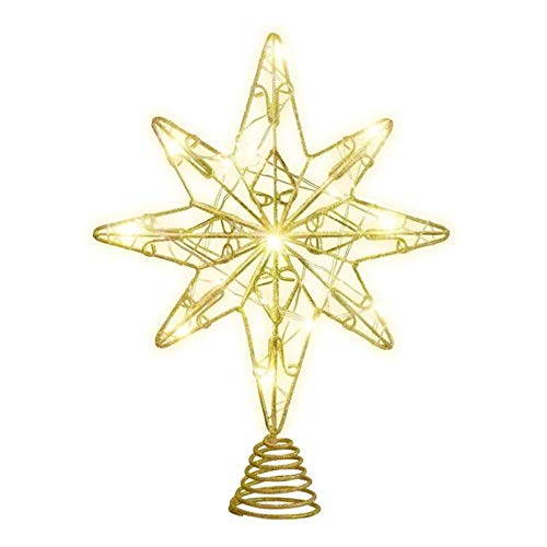 Christmas Tree Stars Lights Christmas Treetop Star Glitter Eight Pointed Star Iron Wire Tree Topper Ornament with String Lights Xmas Party Decor (Gold) Christmas Decoration