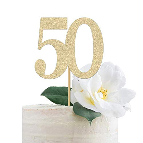 Attractive Gold Glitter 50th Cake Topper | Made of Premium Glitter Paper | Perfect for 50 Wedding Anniversary, Fiftieth Birthday, Fifty