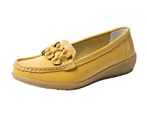 Zapatos de Cuero Cuña para Mujer Mocassins Planos Loafers Antideslizante Otoño Invierno Casual Derby,Amarillo,EU 37 =CN 38