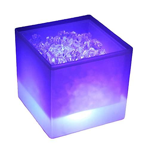 ZXD Cubo de Hielo plástico LED Profesional Cubo de Hielo Cuadrado de Doble Capa