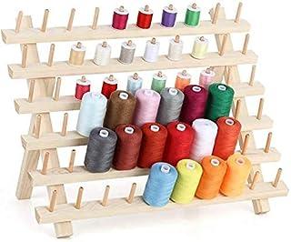 HAITRAL Lot de 60 bobines de fil à coudre en bois, support mural pliable pour couture, matelassage, broderie, tressage