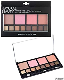Style Essentials Women's Cosmetics NATURAL BEAUTY Blush and Eyeshadow Palette - 12 Shades Shimmer and Matte Finishes