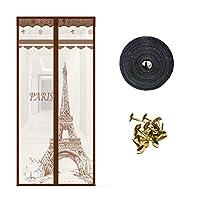 ドアの蚊帳、ベルクロ+プッシュピンを送信-C-950*2150 mm