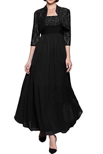 (ウィーン ブライド)Vienna Bride ロングドレス ママドレスドレス 結婚式母親ドレス 2点セット ボレロ付きカラー紺色 エレガント 披露宴 パーティー-21W-ブラックA