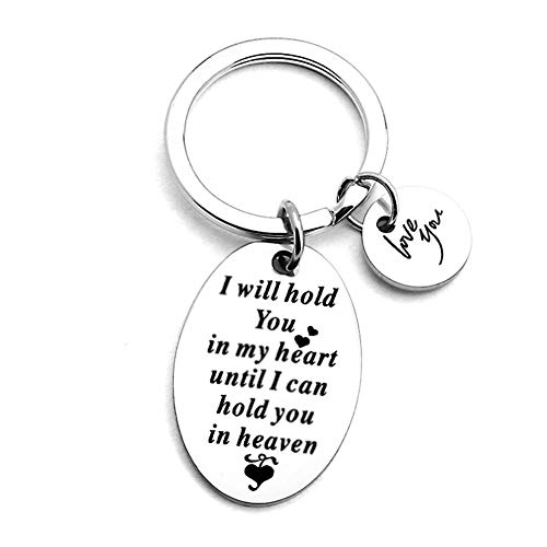 I Will Hold You in My Heart Until I Can Hold You in Heaven Keychain Memorial Sympathy Keepsake Gifts Jewelry Remembrance Gifts for Loss of Loved One