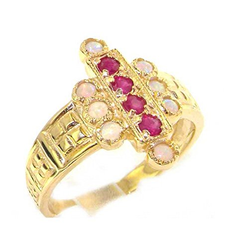Luxury 9ct Yellow Gold Ladies Large Ruby & Opal Aztec Style Ring - Size V