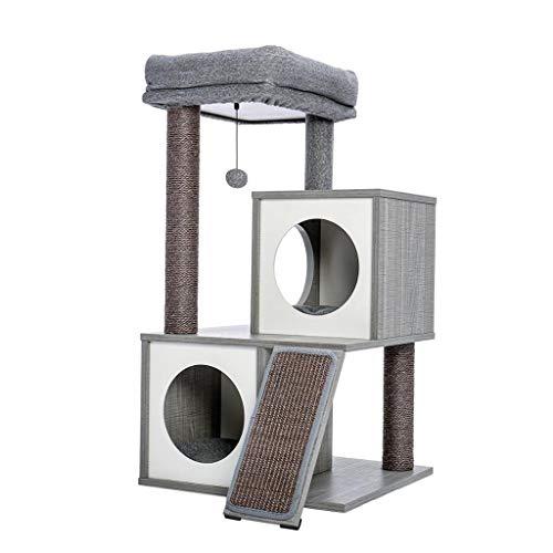 SCDCWW Modern Cats Tree Cats Tower con Postes rascadores Cubiertos de sisal, Espacioso condominio y Percha Grande para Gatos pequeños a medianos (Color : A)