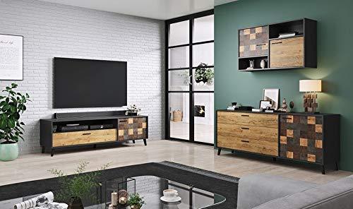 Jadella woonwand ' Sofia III' woonkamerkast antraciet TV wand alpine eiken televisiekast eiken hout decor