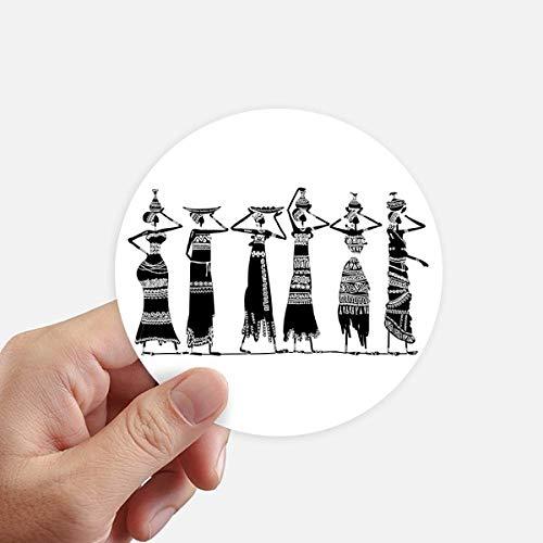 DIYthinker Afrique Primitive Robes autochtones Totems Noire Autocollants 10CM Mur Valise pour Ordinateur Portable Motobike Decal 8Pcs diamètre 10cm Multicolor