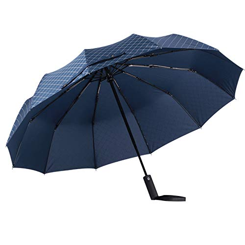 Volledig automatische 3-voudige paraplu op maat Zonnige paraplu's Groothandel Teflon 10 Bone Anti-Wind Vouwparaplu 12 Bone Reinforcement Parasol 23 inch *10K 3083 Handvat 8 Bone Zwart (Plain)