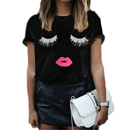 DAZUICHUN Women Clothing Black White Cotton Summer Women T-Shirt Casual Lashes Lips Black M
