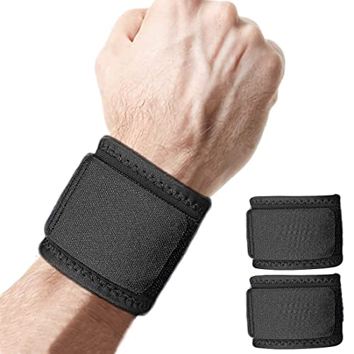 2 Pack Wrist Brace Adjustable Wrist Support for Fitness Weightlifting, Tendonitis, Carpal Tunnel Arthritis, Wrist Pain Relief-Wear Anywhere-Unisex (Black)