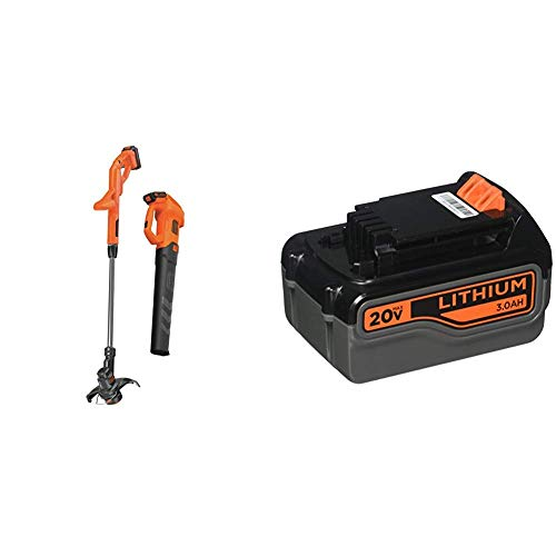 BLACK+DECKER 20V MAX Leaf Blower and String Trimmer Combo Kit with Extra Lithium Battery 3.0 Amp Hour (BCK279D2 & LB2X3020-OPE)