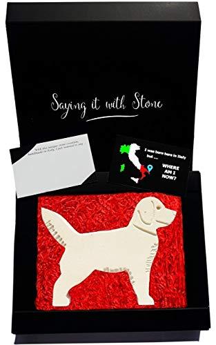 Labrador en pierre fait à la main en Italie - Symbole d'amour, de dévotion, d'amitié, de protection et de loyauté - Coffret cadeau et carte de message inclus - Saint Valentin amoureux des chiens