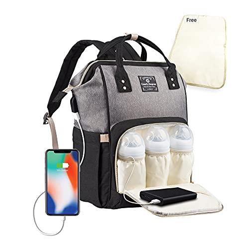 Baby Wickelrucksack Wickeltasche, Multifunktionale Wasserdichte Babytasche für Mama und Papa, Oxford Windelrucksack mit USB-Ladeanschluss, Kinderwagengurte, Wärmetaschen Reisetasche(grey-black)