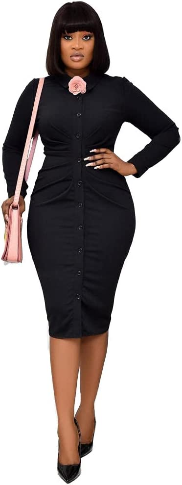 Women Vintage Dress Polo Collar Long Sleeve Office Work Business Career Pencil Dress-Black_M