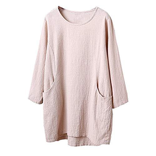 ESAILQ Frauen Baumwolle Leinen 4/5 Ärmel Tunika/Top Bluse(L,Beige)