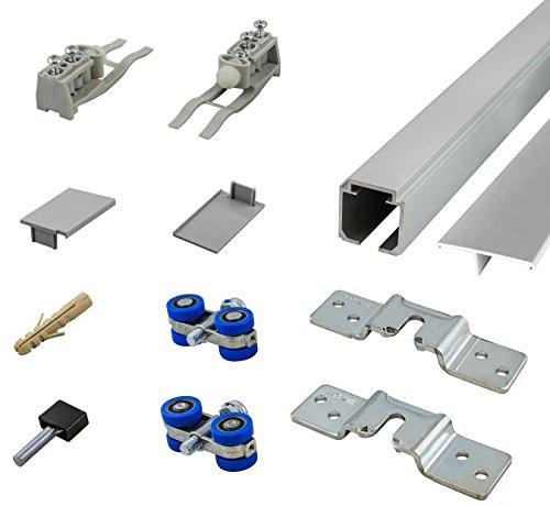 inova Schiebetür-Beschlag Komplett-Set 200 cm für Holz-Schiebetür bis 110 cm 80 kg + Blende + Rollen + Zubehör