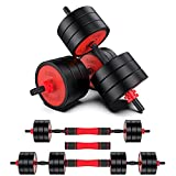 Adjustable Dumbbells Barbell Set,Fitness Barbell Set for Men Women,Non-Slip Lifting Training Set,30KG Free Weights Dumbbells Set w/Connecting Rod for Home Gym Fitness Workouts and Strength Training
