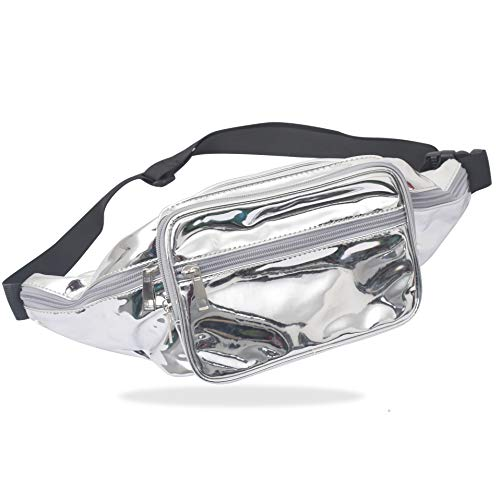 Trihedral-x PU láser Bolsillos Running de Almacenamiento a Prueba de Agua Bolsa de Hombro del Hombro del Bolso de reflexión (Color : Silver, Size : M)